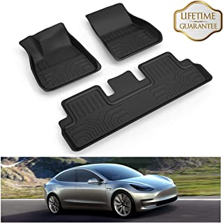 KIWI MASTER Floor Mats Liners Compatible for 2017 2018 2019 Tesla Model 3 All Weather Protector Mat Front & Rear 2 Row Seat TPE Slush Liner Black