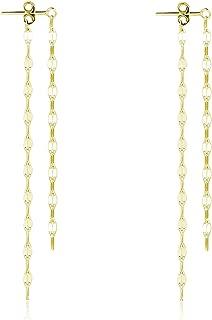 SLUYNZ 925 Sterling Silver Threader Dangle Earrings for Women Teen Girls Long Ear Line Earrings Chain