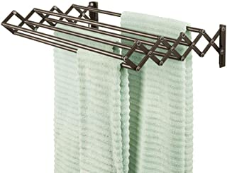 mDesign Metal Wall Mount Accordion Expandable Retractable Clothes Air Drying Rack - 8 Bars for Hanging Garments - Great for Laundry Room, Bathroom, Utility Area - Compact Fold Away - Bronze