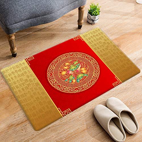 DRTWE Alfombra de terciopelo suave con letras chinas antiguas impresas para sala de estar, dormitorio, antideslizante, cálida, para yoga, meditación, para niños, 50 x 80 cm