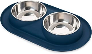 Bonza Double Cat Bowls, 12 Ounce Premium Stainless Steel Dog Bowls and Cat Food Bowls with Non-Spill Silicone Base for Small Dogs and Cats