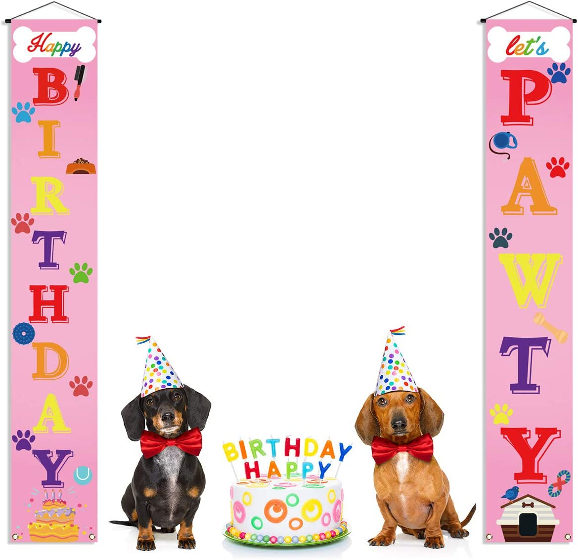 """8 FLAGS 3.5"""" x 2.5"""" DOG BIRTHDAY BANNER GORGEOUS PARTY BUNTING PINK AND GOLD"""