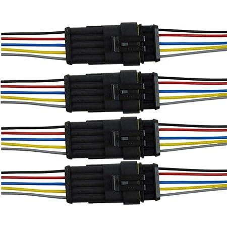 Qiorange 4 Tlg 5 Poliger Kabel Steckverbinder Stecker Wasserdicht Schnellverbinder Mit Draht Für Motorrad Roller Auto Kfz Lkw Auto