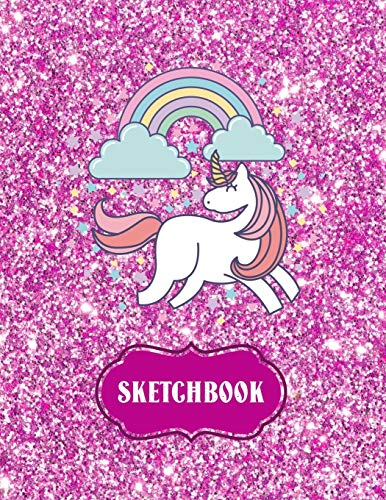 Sketchbook: Cute Unicorn Kawaii Notebook with Pink Glitter Effect Background, 100+ Pages, 8.5'x11' Blank Paper with Unicorns and Doodles, Great Gift ... Animals, and Coloring (Cute Gifts for Girls)
