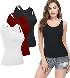 Tank Top for Women with Built in Bra,Basic Undershirt Layering Cami for Daily Wearing