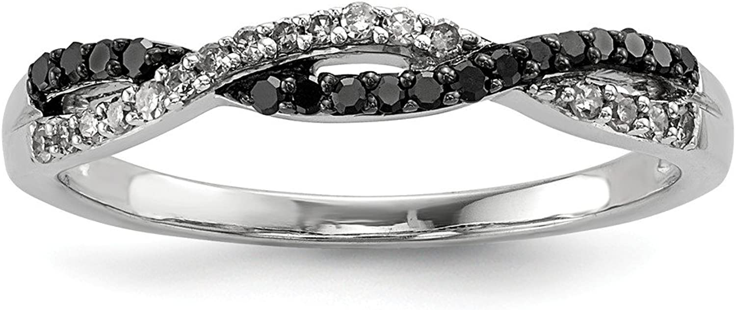 Beautiful Sterling silver 925 sterling Sterling Silver Rhodium Plated Back & White Diamond Ring