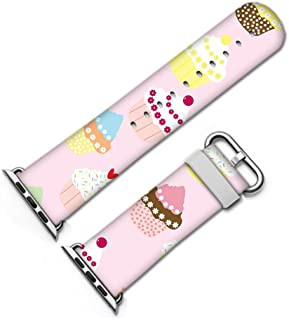 for Apple Watch, Fashion Artistic Pattern Leather Watch Band 38mm 42mm Strap for Apple Watch 3, 2, 1 Design Wrist Watch iwatch Bracelet-164.Cupcakes, Wallpaper, Paper, Seamless