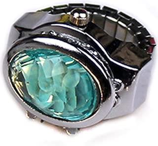 WGY Frauen Ringuhr Elliptical Stereo Einstellbare Ringe Quarzuhren Kristall Blume Damen Clamshell Uhren