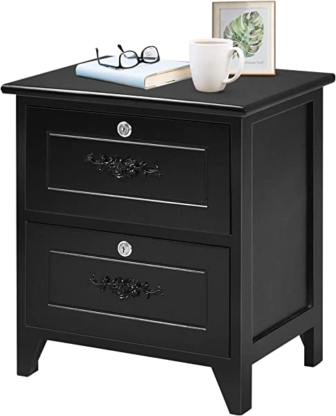 Giantex End Table Wooden W 2 Locking Drawers And Handles For Storage And Organize Solid Structure For Bedroom Beside Sofa Side Nightstand 1 Black