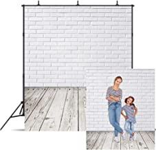 Dudaacvt 5x7ft Vinyl Photography Backdrop White Brick Wall Wood Floor Portable Small Holiday Photo Background Seamless Studio Props for YouTube Video/Wedding/Product/Festival/Brithday MQ0060507
