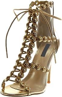 Angkorly - Chaussure Mode Sandale Escarpin Peep-Toe Stiletto Femme perforée Transparent Lacets Talon Haut Aiguille 11.5 CM