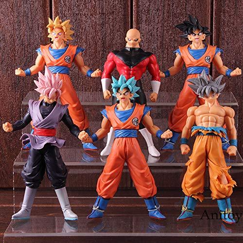 Yvonnezhang Dragon Ball Super Saiyan Blue Son Goku Ultra Instinct Jiren Goku Negro Rosa Figura de Acción de PVC Modelo de Colección de Juguetes 6 unids / Set