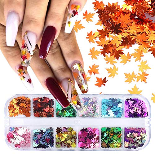 12 Colors Fall Nail Art Stickers Decals Maple Leaf Nail Glitter Sequins Nails Decorations 3D Autumn Gradient Maple Leaves Thin Nail Sequin Nail Flakes Acrylic Glitters Manicure Tips Accessories Decor