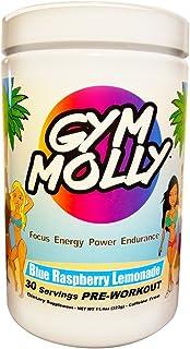 Gym Molly Caffeine Free Pre Workout Powder Energy Drink Supplement   BCAAs   0 Carbs   for Men & Women, Blue Raspberry Lemonade (30 Servings, 11.4 oz)
