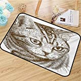 hengshu Cat Front Door mat Carpet Portrait of a Kitty Domestic Animal Hipster Best Company Fluffy Pet Graphic Art Machine Washable Door mat W31.5 x L47.2 Inch Green Brown White