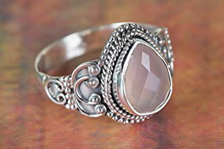 Pink Rose Quartz Gemstone Rose Handmade Silver Healing Ring Rose Quartz Jewelry Engagement Ring