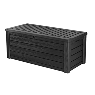 Keter Westwood 150 Gallon Resin Large Deck Box for Patio Garden Furniture, Outdoor Cushion Storage, Pool Accessories, and Toys, Dark Grey