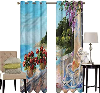 hengshu Seascape Grommet Curtains for Bedroom Balcony Sea Rocking Chair for Backdrop Curtain W100 x L63 Inch