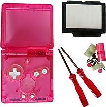 Jerilla Reemplazo Funda Transparente de Cáscara Completa para Gameboy Advance SP GBA SP Console, Claro Vivienda Concha Piezas de Reparación con Lente y Destornillador