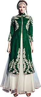 INMONARCH Womens Classic-Look Dark-Green Pure Velvet Anarkali Suit SLKI01003