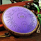 Qianyuyu Acero Tambor de la Lengua Tongue Drum nstrumentos 14 Pulgadas Regalo de Meditación de Yoga...
