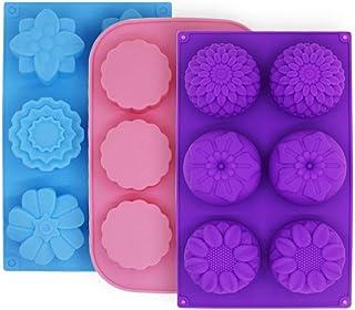 Molde de pastel de silicona con 3 moldes para pastel, moldes de flores FineGood para hacer galletas de chocolate con gelatina, Bandejas de jabón artesanal de bricolaje, 6 cavidades, azul, rosa