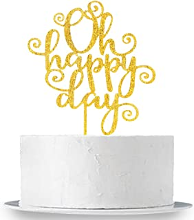 INNORU Oh Happy Day Cake Topper -Gold Acrylic Happy Wedding ,Anniversary ,Retirement ,Birthday Party Supplies Decorations