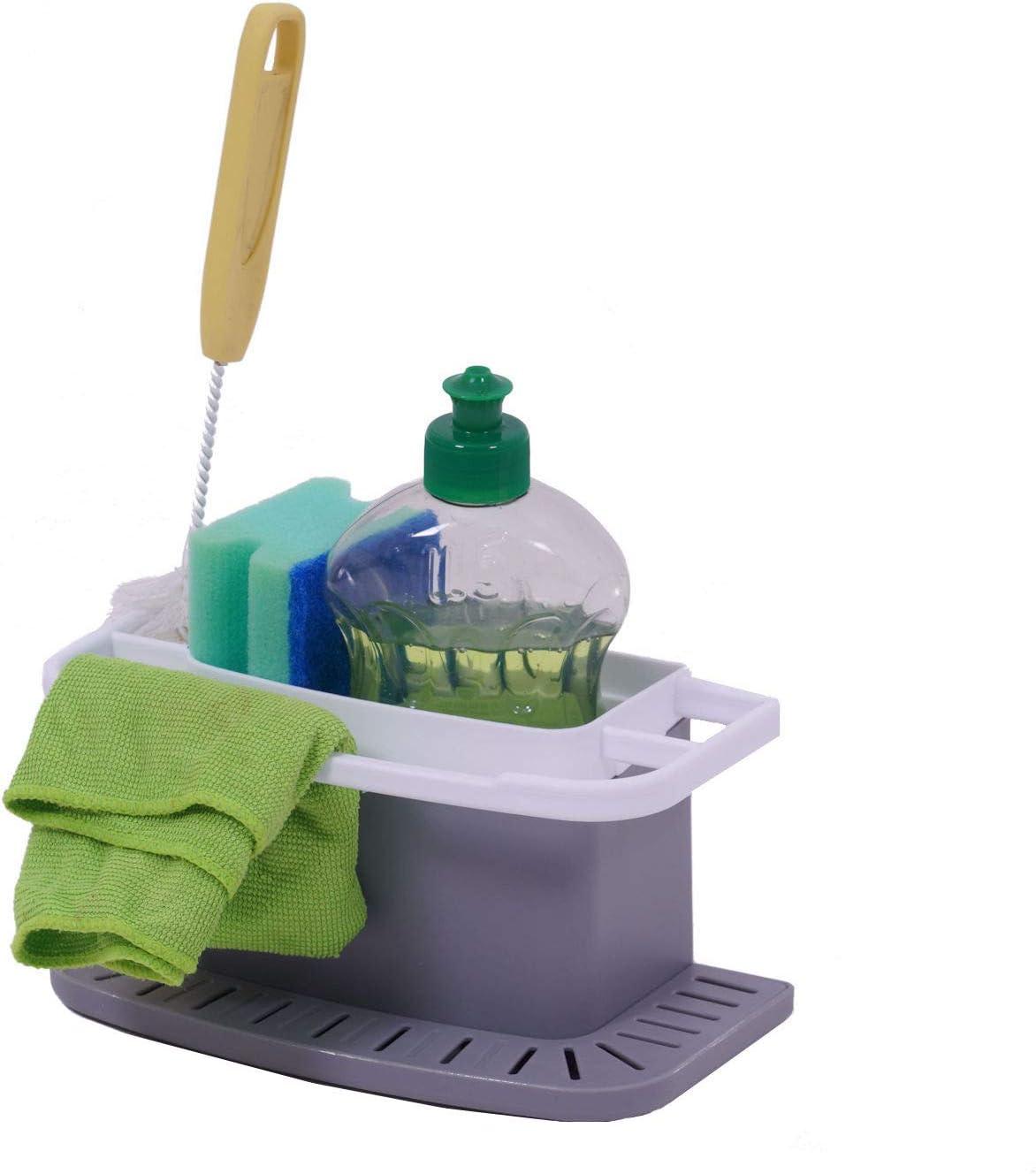 Wenko Organizador de fregadero de 21,5 x 12 x 12 cm – Organizador de fregadero con soporte de esponja – Soporte para utensilios para el fregadero para trapos, cepillos, esponjas, etc.