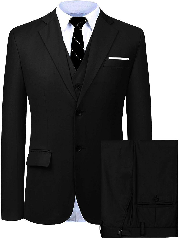 Wemaliyzd Mens 3 Pieces Business Suit Notch Lapel Back Centre Vent Blazer Vest Pants
