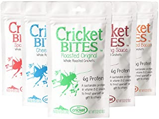 Cricket Bites Gift 5-Pack of Assorted Flavors (North American Crickets - Made in Portland, Oregon) by Cricket Flours