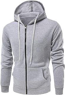 Men's Jacket Hoodie Casual Long Sleeve Loose with Pocket Drawstring Warm Full Zip Tops Sweatshirt Pullover Men Fashion Swe...