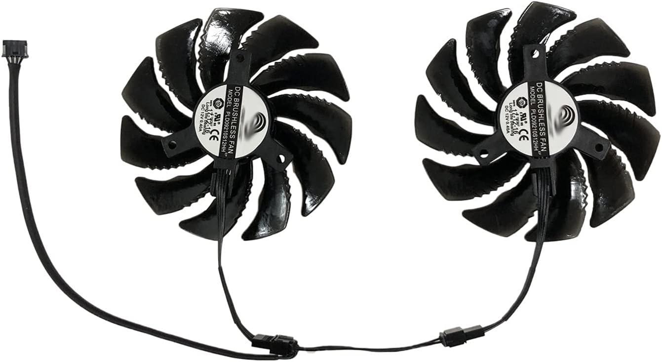 RX 470/480/570/580 PLD09210S12HH 87MM (90 mm) Tarjetas Fan Gigabyte RX480 RX580 RX570 Tarjeta de Gaming Gráficos Ventilador de enfriamiento como reemplazo (Blade Color : 1 Pair PLD09210S12HH)