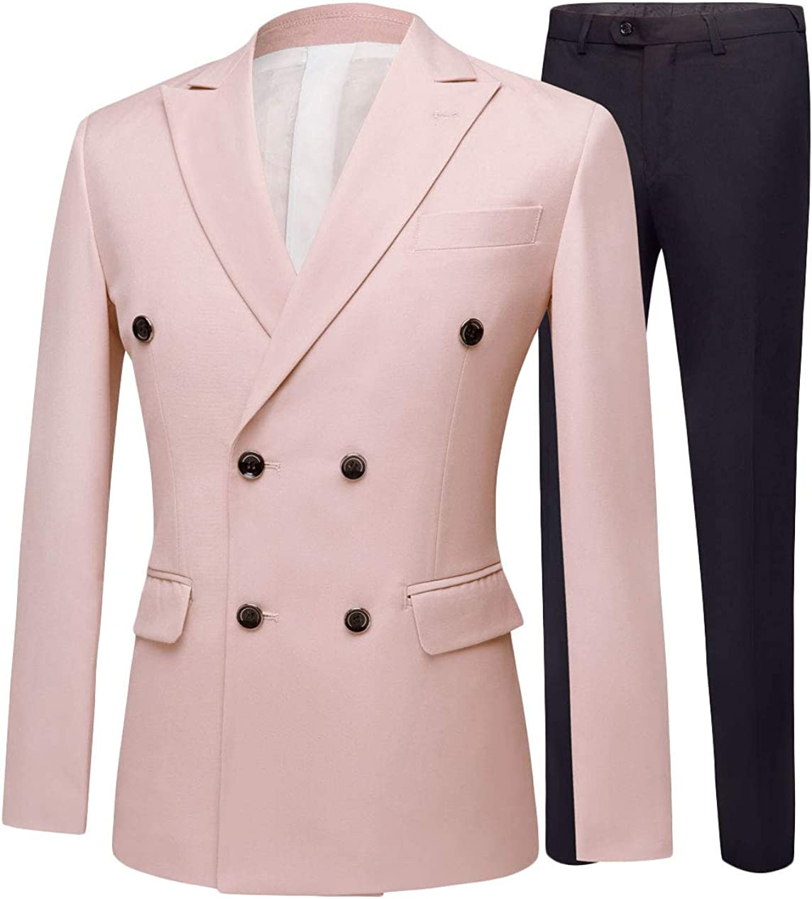 Botong Men's Slim Fit Double Breasted Suits Jacket Pants 2 Pieces Wedding Suit Groom Tuxedos