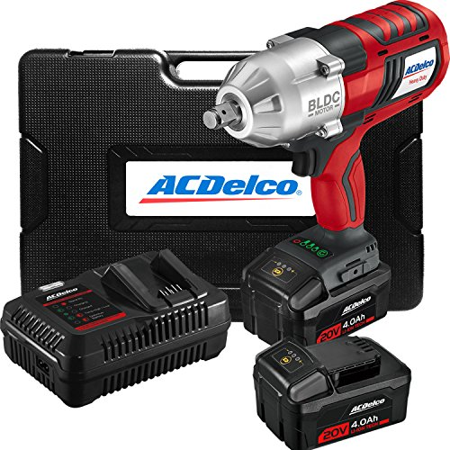"""ACDelco ARI2002 20V Brushless Cordless High Torque Li-ion 1/2"""" Jumbo Impact Wrench with Friction Ring Anvil Kit, 2 Batteries, Fast charger, and Carrying Case"""