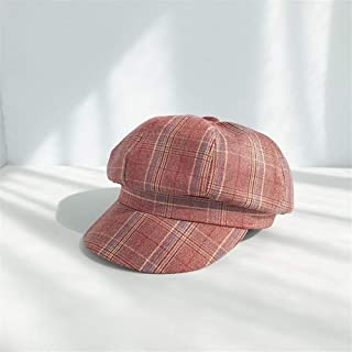 Lei Zhang Autumn and Winter Korean Literary Plaid Retro Octagonal Cap hat Men and Women Wild Casual British Painter Berets (Color : Wine red, Size : One Size)