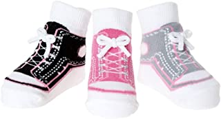 Baby Infant Toddler Girl Shoe Look Socks-Anti Slip Soles - Soft Combed Cotton - 3 Pairs - Gift for Newborn (0-12 Months, Girl Sneaker Socks - Pouch)