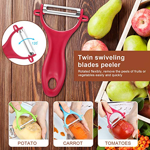 4 Pieces Y-shaped Peeler Stainless Steel Fruit Vegetable Peeler Swiveling Blades Potato Peelers for Kitchen, Pink Red Blue Green