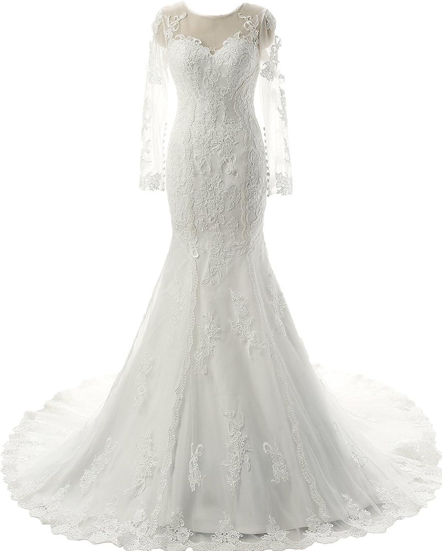 Heloise Women's Wedding Dresses Floral Lace Tulle Boat Neck Long Sleeve Mermaid Bridal Dresses SeeThrough Back Dresses
