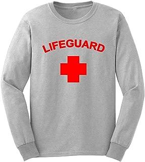 Mens Life Guard YMCA Pool Staff Long Sleeve Adult T-Shirts Casual Men Tee
