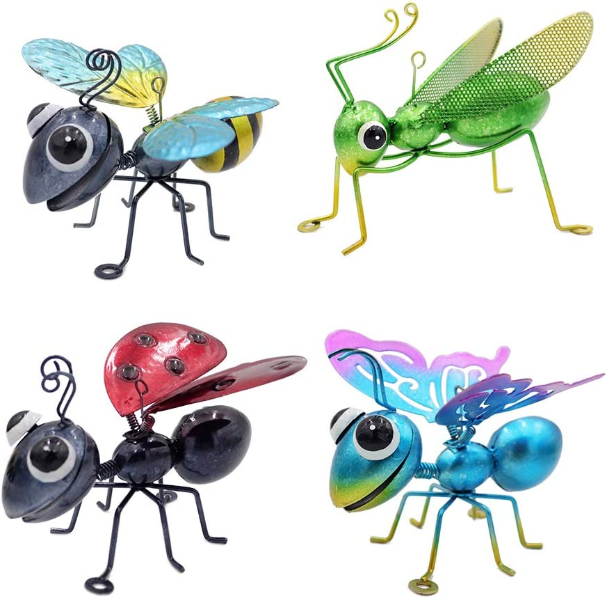 Set of 4 Metal Insect Yard Decor Wall Art Decor 3D Sculpture Wall Decor Hanging Insect Hanging Home Decoration Perfect Indoor or Outdoor Decorations for Home Garden Bedroom