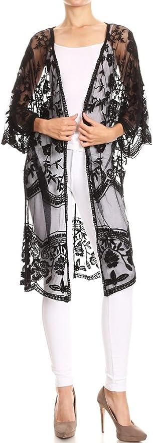 Shawls & Wraps   Fur Stole, Lace, Fringe Anna-Kaci Womens Long Embroidered Lace Kimono Cardigan with Half Sleeves  AT vintagedancer.com