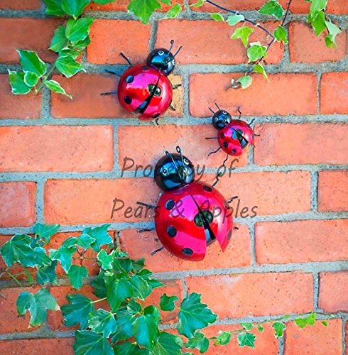 Apples to Pears 3X Metal Decorative Wall Art Garden Ornament Hanging Ladybug And Bumble Bee (Ladybugs)