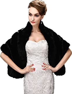 Women's Faux Fur Wrap Cape Stole Shawl Shrug for Wedding/Party/Show