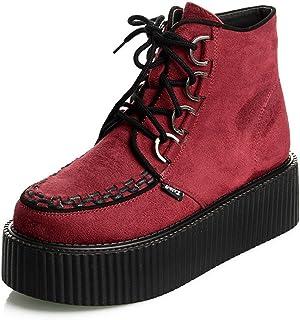 Mujer Polacchine Zapatos Plataforma Botas Cordones Rojo Size41