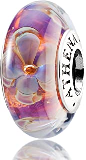 Murano Glass 925 Silver Core Five-Petaled Flowers Charm Bead for Charms Bracelet