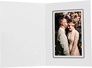Golden State Art, Cardboard Photo Folder for a 4x6 Photo, Great for Portraits and Photos,Special Events: Graduation,Wedding,Baby Shower (White with Black Line, 50-Pack)