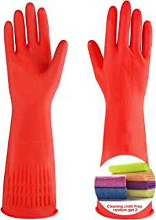 Sponsored Ad - Reusable kitchen dishwashing gloves Rubber cleaning long glove Cotton flock lined 2 pairs,Get free cleaning...