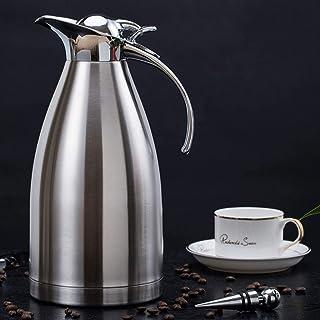 ZCXBHD 304 ステンレス鋼 断熱ポット 家庭 ヨーロッパスタイル 真空 ケトル 2L コーヒー ジャグ にとって 紅茶/ミルク ポットホット&コールド (色 : シルバー しるば゜)