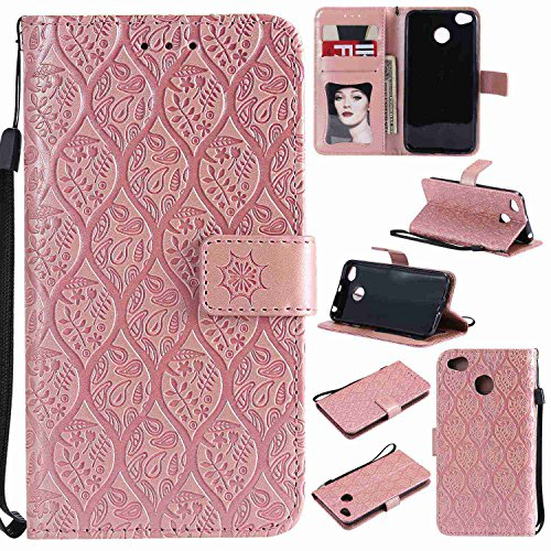 pinlu® Funda para Xioami Mi A1 / Xiaomi 5X Smartphone Plegado Flip Billetera Carcasa Retro PU Leather Cover Función de Soporte con Ranura Case Rayas de Ratán Rose Gold