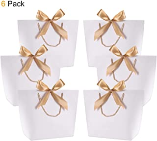Gift Bags with Handles- WantGor 14.2x10.2x4.3inch Paper Party Favor Bag Bulk with Bow Ribbon for Birthday Wedding/Bridesmaid Celebration Present Classrooms (White, Large- 6 Pack)